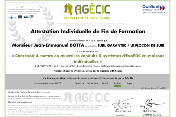 attestation de stage - Jean-Emmanuel BOTTA - FLOCON DE SUIE
